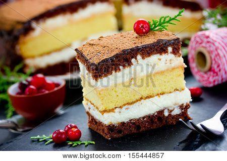 Christmas chocolate lemon cream homemade dessert cake
