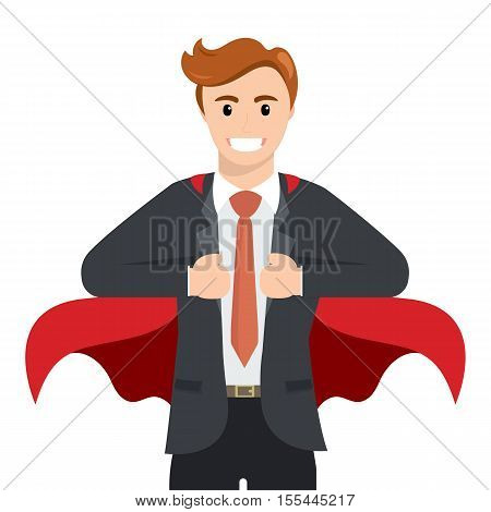 Happy smiling businessman turns in Superhero suit. Super Businessman. Business concept illustration. Superhero with a red cape, vector illustration , flat design.