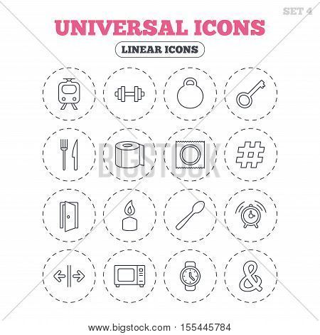 Universal icons. Fitness dumbbell, home key and candle. Toilet paper, knife and fork. Microwave oven. Round flat buttons with linear icons. Vector