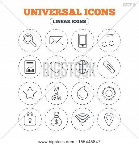 Universal icons. Smartphone, mail and musical note. Heart, globe and share symbols. Paperclip, scissors and water drop. Round flat buttons with linear icons. Vector