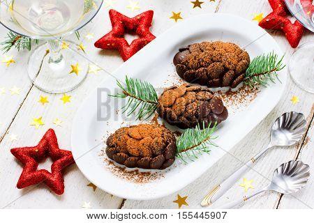 Chocolate dessert cake pinecone for Christmas holiday