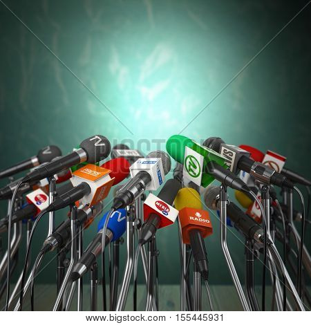 Microphones prepared for press conference or interview on  green background. 3d illustration