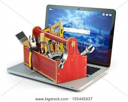 Online support. Laptop and toolbox with tool  isolated on white background. Laptop repair concept. 3d illustration