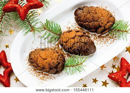 Christmas tree pine cone chocolate dessert cake
