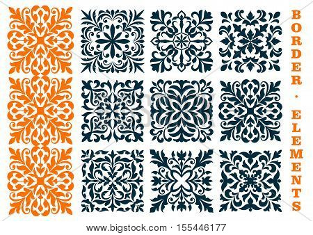 Ornamental decoration floral patterns. Curled and curved decorative openwork elements of leaves, branches, tendrils for certificate, diploma border frames, interior decor, tile