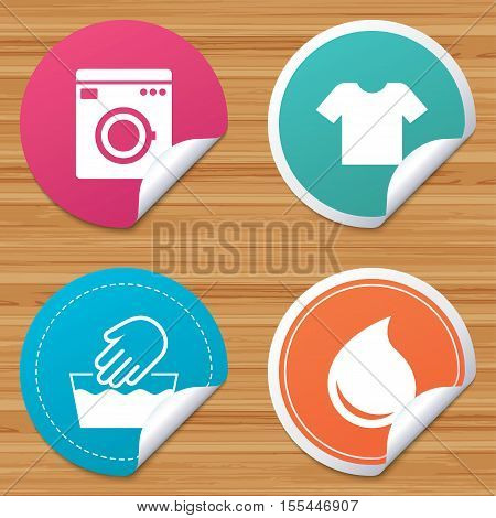 Round stickers or website banners. Wash machine icon. Hand wash. T-shirt clothes symbol. Laundry washhouse and water drop signs. Not machine washable. Circle badges with bended corner. Vector