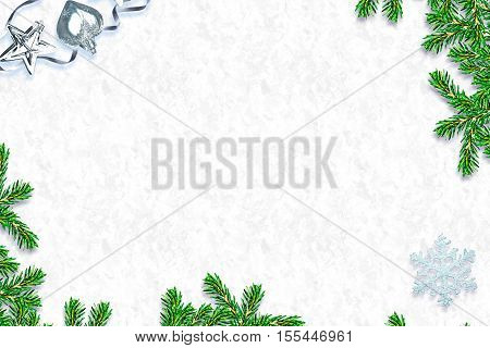 Snow covered trees frame. Festive Christmas composition. Card.