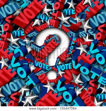 Vote election question as a symbol for an American government campaign to decide the choice in a candidate for president or senator or congress as a ballot decision icon as a 3D illustration.
