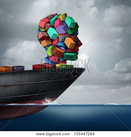 Shipping cargo concept as a global container tanker ship transporting freight shaped as a human head as a transportation and trade metaphor with 3D illustration elements.