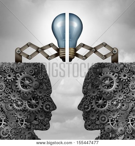 Concept of creativity partnership and creative group cooperation as a bunch of gears and cogs shaped as open minded heads with a lightbulb puzzle connecting together as a 3D illustration.