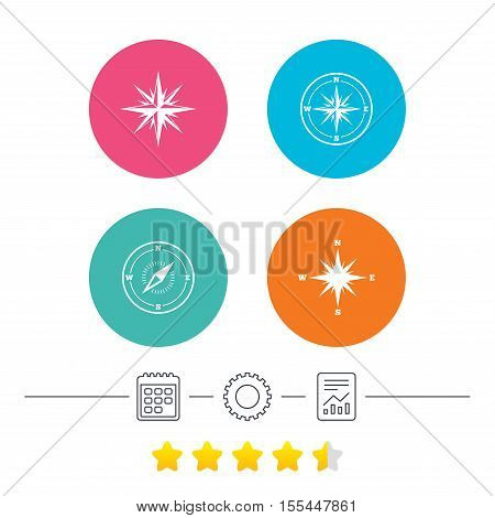 Windrose navigation icons. Compass symbols. Coordinate system sign. Calendar, cogwheel and report linear icons. Star vote ranking. Vector