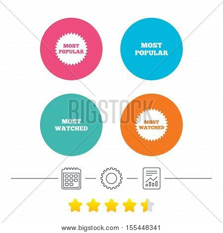 Most popular star icon. Most watched symbols. Clients or users choice signs. Calendar, cogwheel and report linear icons. Star vote ranking. Vector