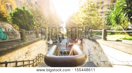 Old staircase with the city in background - Urban image