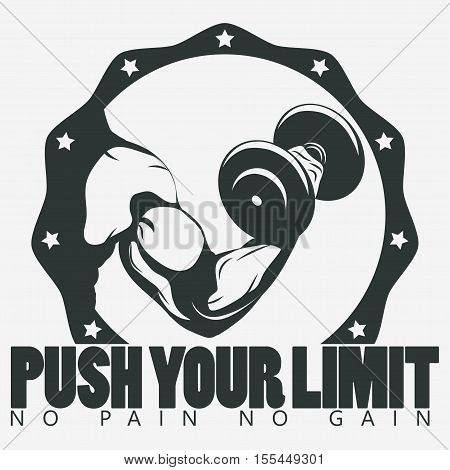 Bodybuilder with dumbbell. Biceps Flex arm gym sign. Weightlifter athlete vector emblem, sport print