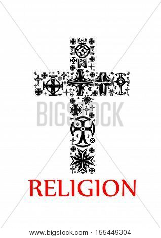 Religion symbol with black silhouette of a cross, composed of various religious crucifixes and crosses, adorned by celtic ornaments, floral motif and openwork pattern