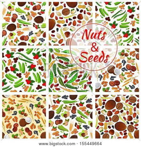 Natural nuts and seeds seamless backgrounds. Wallpapers with vector icons of coconut, almond, pistachio and sunflower seeds, pumpkin seeds, coffee beans and peanut, hazelnut, walnut, cranberry, pea pod, bean, wheat