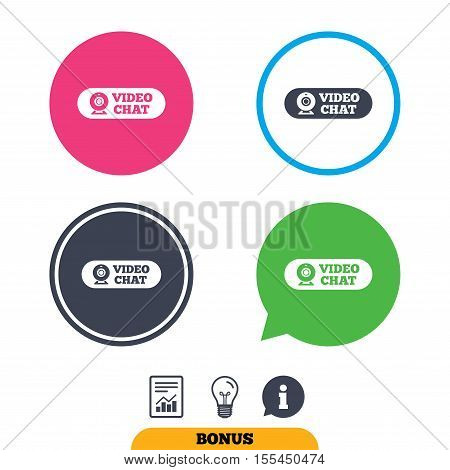 Video chat sign icon. Webcam video conversation symbol. Website webcam talk. Report document, information sign and light bulb icons. Vector