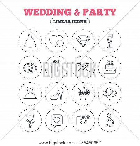 Wedding and party icons. Dress, diamond and rings. Gift box, invitatiom letter and rose flower. Speech bubble with heart and photo camera. Round flat buttons with linear icons. Vector
