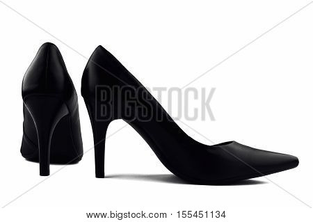 Black elegant women's shoes with high heels isolated on white background