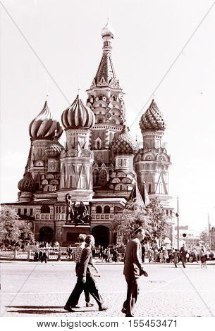 View of Saint Basil the Blessed in Moscow Russia July1962