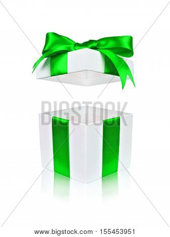 Open White Gift Box With Green Bow And Floating Lid Isolated On White