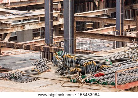 close up steel bar for use in construction site