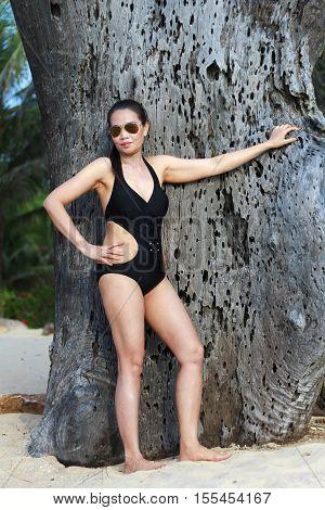 Lady show body natural in Ban Krut Beach at Prachuap Khirikhun Provice Thailand