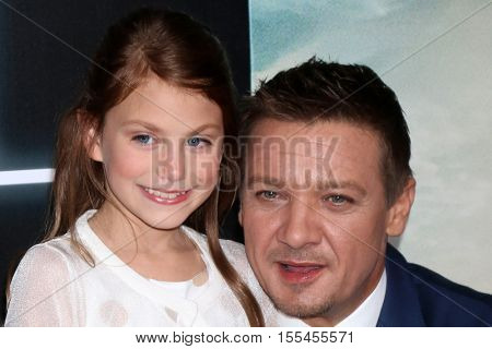 LOS ANGELES - NOV 6:  Abigail Pniowsky, Jeremy Renner at the