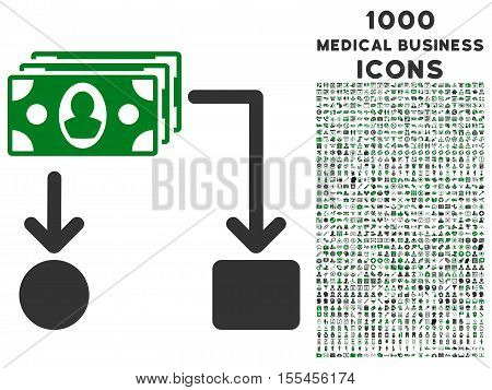 Cashflow vector bicolor icon with 1000 medical business icons. Set style is flat pictograms, green and gray colors, white background.