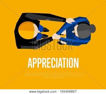 Appreciation banner, vector illustration. Top view of two business partners shaking hands isolated on orange background. Business people meeting concept. Union symbol. Collaboration and partnership.