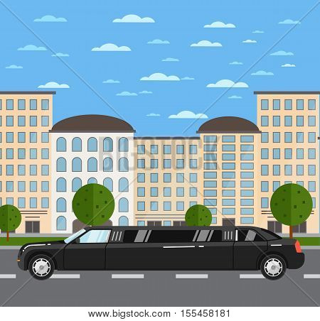 Black luxurious limousine on road in city vector illustration. Urban cityscape background. Limousine service concept. Premium people transportations. Long black limo. Vip vehicle.