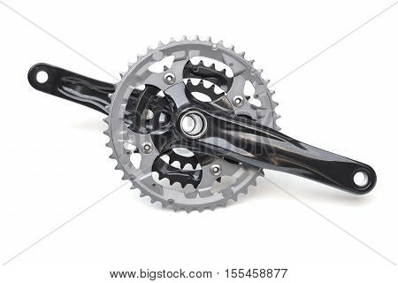 Bicycle crank for mountain bike isolated on white