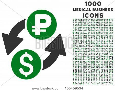 Dollar Rouble Exchange vector bicolor icon with 1000 medical business icons. Set style is flat pictograms, green and gray colors, white background.