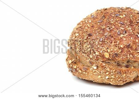 Rye multigrain roll isolated with blank space to add text