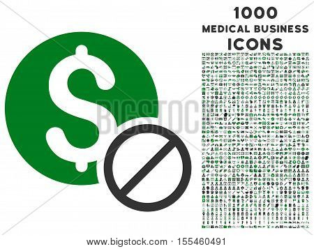 Free of Charge vector bicolor icon with 1000 medical business icons. Set style is flat pictograms, green and gray colors, white background.