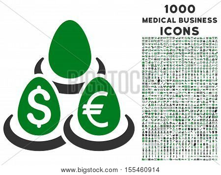 Currency Deposit Diversification vector bicolor icon with 1000 medical business icons. Set style is flat pictograms, green and gray colors, white background.