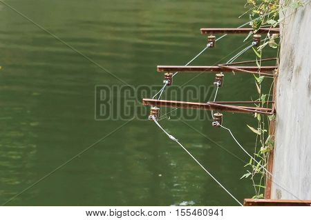 Electricity fence in the tiger captivity / Zoo safety management concept