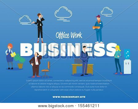 Office work business banner with successful business people vector illustration. Man in business suit near office table. Businesswoman with phone. Delivery man in uniform. Office life and teamwork.