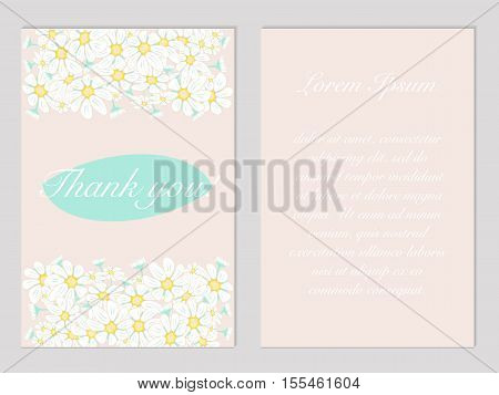 floral thankgiving vector postcard with chamomiles in pastels