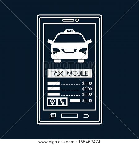 silhouette smartphone aplication taxi mobile black background vector illustration eps 10