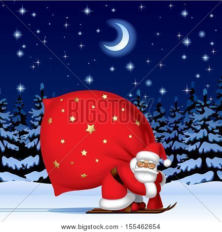 Santa Claus by ski with a red big sack against the night winter spruce forest in snow under starry sky. Vector Illustration