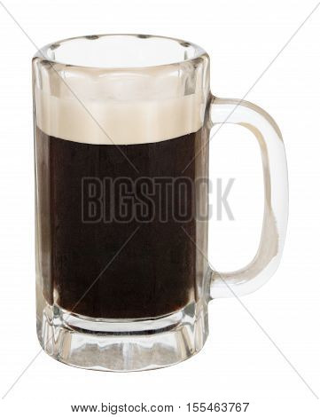 Mug of dark stout beer isolated on a white background with a clipping path