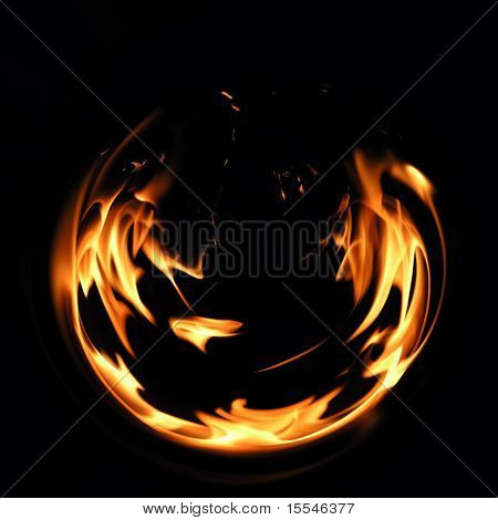 Flaring fire on a black background poster