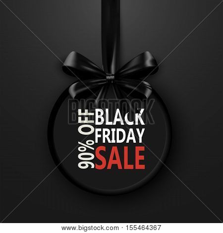 Black Friday banner with black bow ribbon, black friday design template. Discount black friday special off sale. Shopping black friday promotion poster. Vector illustration black friday label concept