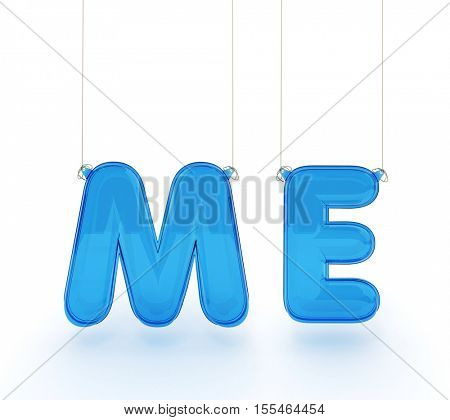 The  word me, written in plastic textured inflatable letters 3D rendering