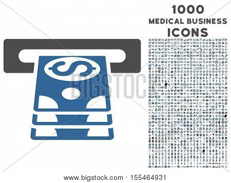 Bank Cashpoint vector bicolor icon with 1000 medical business icons. Set style is flat pictograms, cobalt and gray colors, white background.