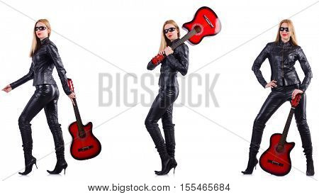 Young woman playing guitar isolated on white