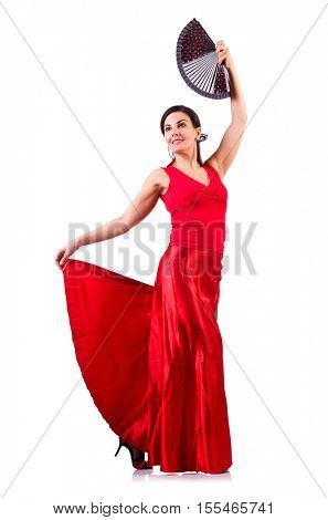 Woman dancing traditional spanish dance isolated on white