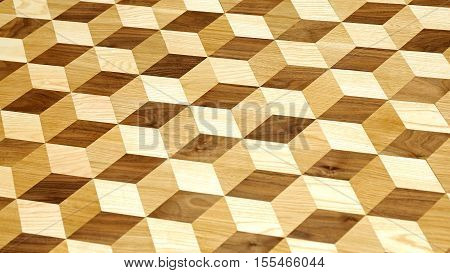 3d Illusion Wood Cube Tiles Geometric Shapes