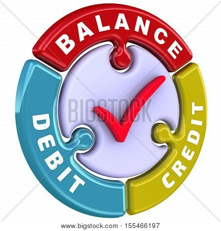 Debit, credit, balance. The check mark in the form of a puzzle. The inscription